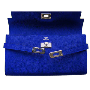 Hermes Blue Electric Epsom Kelly Long Wallet PHW Adore