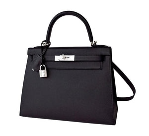 Fashionista Hermes Jet Black 28cm Epsom Sellier Kelly