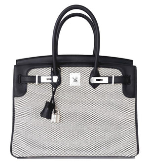 Hermes Black Swift Leather Criss Cross Ecru Graphite Toile 35cm Birkin