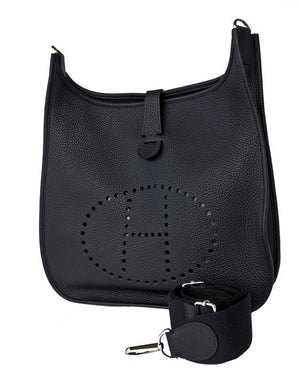 Hermes Black Evelyne GM Clemence Cross Body Messenger Bag