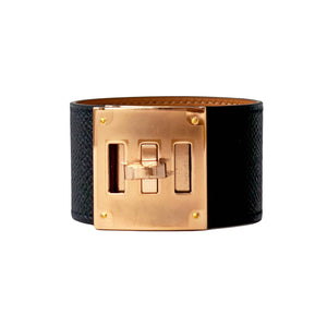 Hermes Black Kelly Dog Epsom Rose Gold Hardware Leather Cuff Bracelet