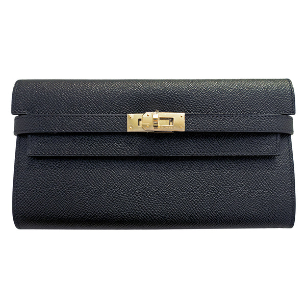 Hermes Black Epsom Permabrass Kelly Long Wallet Clutch Super Rare
