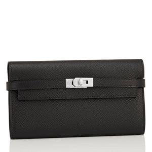 Hermes Black Kelly Long Wallet Clutch Epsom Palladium Hardware