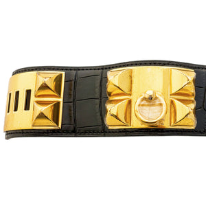 Hermes Black Matte Crocodile Croc Collier de Chien CDC Leather Cuff Bracelet Gold