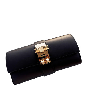 Hermes Black Medor Pochette 23cm Clutch Gold Hardware Bag Elegant