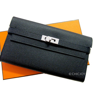 Hermes Black Epsom Kelly Long Wallet PHW Most Requested