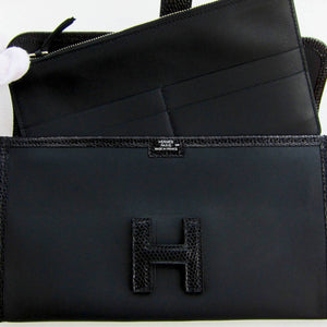 Hermes Black Swift Lizard Niloticus Jige Duo Mini Clutch