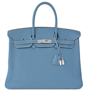 Hermes Blue Jean 35cm Birkin Leather Palladium Tote Satchel Chic and Sporty