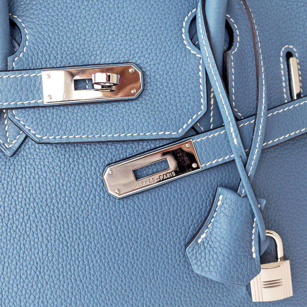 65d63cf6f5b1 ... Hermes Blue Jean 35cm Birkin Leather Palladium Tote Satchel Chic and  Sporty. ◅  ▻