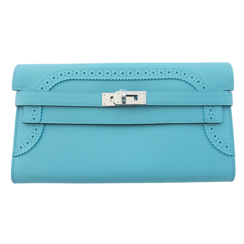 fc06503454 Hermes Limited Edition Blue Atoll Ghillies Swift Kelly Wallet Clutch B -  Chicjoy
