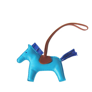 Hermes Rodeo Bag Charm Blue Izmir Blue Electric Fauve MM Medium for Birkin Kelly