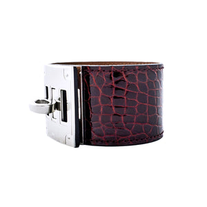 Hermes Shiny Bourgogne Alligator Gator Crocodile Croc Kelly Dog Leather Cuff Bracelet