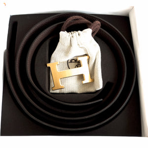 Hermes Chocolate Brown Black Unisex Reversible Constance Gold Belt Kit 32mm 90cm