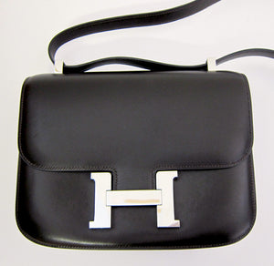 Hermes Double Gusset 23cm Constance Brown Box Leather Shoulder Bag