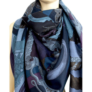 Hermes Cavalleria D'Etriers Cashmere Silk Shawl Scarf GM Fabulous