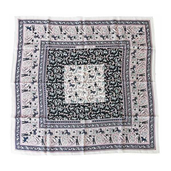 Hermes Chasse en Inde White Pink Grey Black Silk 90cm Scarf Carre Superb