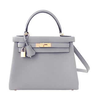 Hermes Gris Mouette New Grey 28cm Togo Kelly Bag Gold Hardware Superb
