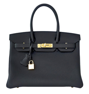 Hermes Plomb Lead Grey Black Togo 30cm Birkin Gold GHW Bag Superb