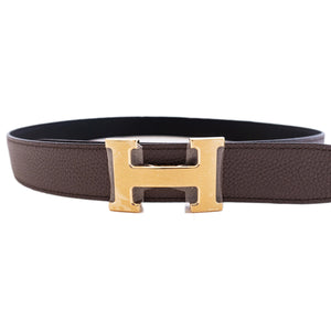 Hermes Etain Grey 85cm Black Gold Buckle Reversible Constance Belt Kit  32mm