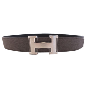 Hermes Etain Grey 90cm Black Unisex Silver Buckle Reversible Constance Belt Kit 32mm