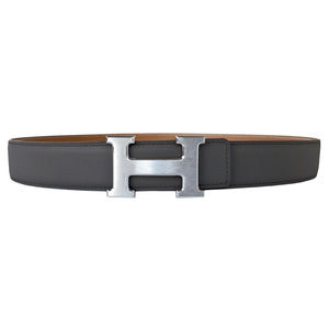 Hermes Etain Grey Natural Reversible Constance H Silver Buckle Belt Kit 32mm 85cm
