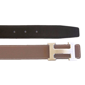 Hermes Etoupe Black 85cm Constance 32mm Brushed Silver Belt Kit Classic Gift!