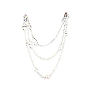 Hermes Farandole Solid Silver Long Necklace 160cm Below Retail!