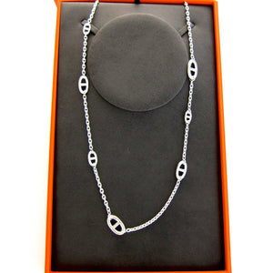 Hermes Farandole Long Solid Silver Classic Chain Necklace