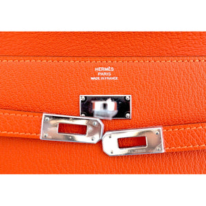 Hermes Feu Orange Kelly Wallet Chevre Palladium PHW Clutch Bag Iconic