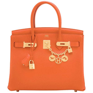 Hermes Feu Orange Birkin 30cm Gold Hardware Y Stamp, 2020