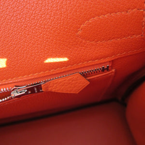 "Hermes Feu ""Fire Orange"" 30cm Togo Birkin Palladium"