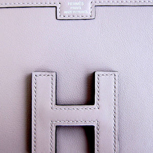 Hermes Glycine Lilac Jige Swift Elan Leather Clutch 29cm