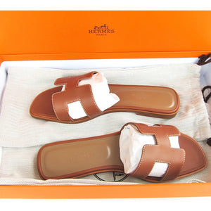 Hermes Gold Oran Box Leather Sandals Shoes Size 39 or 8.5 Iconic