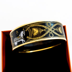 Hermes 65 Black Gold Printed Horse Enamel Bangle Bracelet