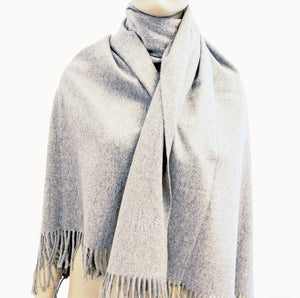 Hermes Light Grey Double Faced Unisex Cashmere Scarf Stole