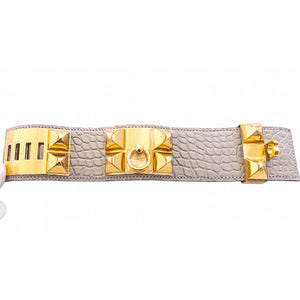 Hermes Matte Gris Perle Alligator Crocodile Croc Collier de Chien Gold GHW Leather Cuff Bracelet