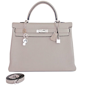 Hermes Gris Tourterelle Togo Kelly Dove Grey 35cm Palladium Shoulder Bag Elegant