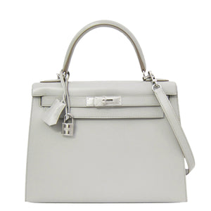 Hermes Gris Perle 28cm Sellier Kelly Guilloche Hardware