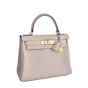 Hermes Gris Tourterelle 28cm Togo Kelly Gold GHW Shoulder Bag