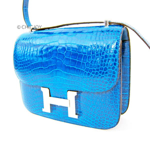 Bleu Izmir Mini 18cm Constance Shiny Alligator Crossbody Shoulder Bag