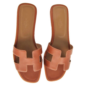 Hermes Gold Oran Box Leather Sandals Shoes Size 40 or 9.5 Iconic