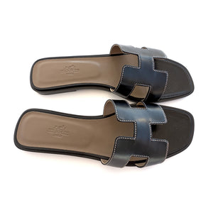 Hermes Oran Black Box Leather Sandals White Stitching Size 40 or 9.5 or 10