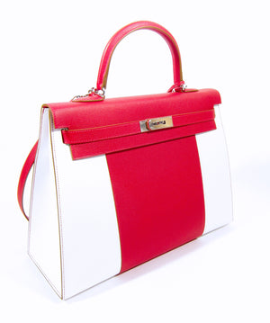 Hermes Kelly Flag 35cm Rouge Casaque/Blanc