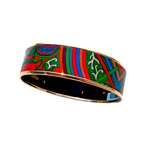 Hermes Red Green Blue Printed Rose Gold 70 Wide Enamel Bangle Bracelet