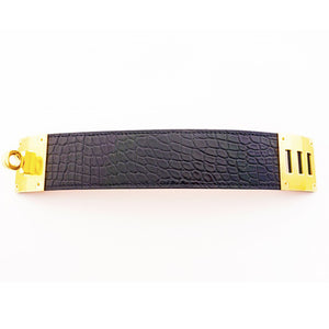 Hermes Matte Black Crocodile Alligator Kelly Dog Gold GHW Leather Cuff Bracelet