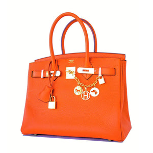 Hermes Orange 30cm Birkin Gold GHW Satchel Tote Bag Gorgeous