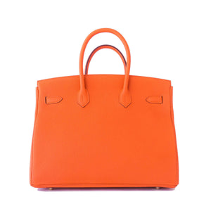 Hermes Orange 35cm Birkin Gold GHW Tote Bag X Stamp Iconic Summer!