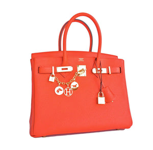 Hermes Orange Poppy 30cm Birkin Gold GHW Satchel Tote Bag Gorgeous