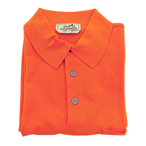 Hermes Orange Men's Polo Short Sleeve Cotton Shirt Large Iconic House Orange