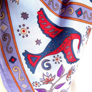 Hermes Peuple Du Vent Cashmere Silk GM Shawl Blue Purple